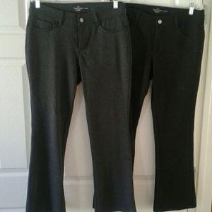 2 Pair Faded Glory Slacks Black & Grey 10P Short